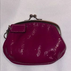 Coach Coin Purse Wallet Berry Patent Leather